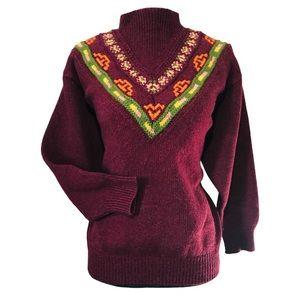 Benetton Rare Shetland Wool Mock neck sweater